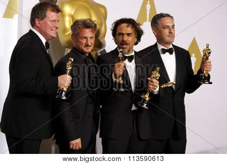 John Lesher, Sean Penn, Alejandro G. Inarritu and James W. Skotchdopole at the 87th Annual Academy Awards - Press Room held at the Loews Hollywood Hotel in Los Angeles, USA February 22, 2015.