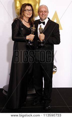 Frances Hannon and Mark Coulier at the 87th Annual Academy Awards - Press Room held at the Loews Hollywood Hotel in Los Angeles, USA on February 22, 2015.