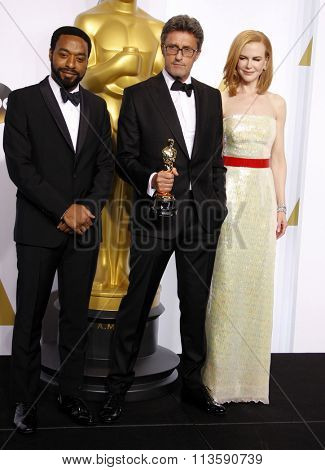 Pawel Pawlikowski, Chiwetel Ejiofor and Nicole Kidman at the 87th Annual Academy Awards - Press Room held at the Loews Hollywood Hotel in Los Angeles, USA on February 22, 2015.