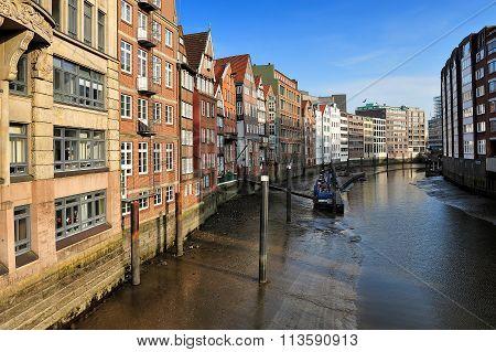 Low Tide At The Nicolaifleet, Hamburg, Germany