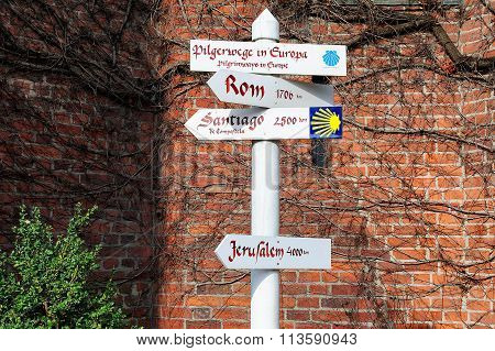 Sign Of Pilgrimage Of Camino De Santiago, Hamburg, Germany