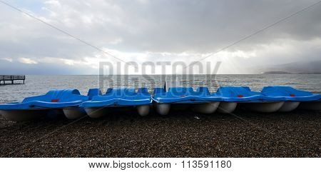 Picture of a Boats on a beach on Lake Ohrid Macedonia