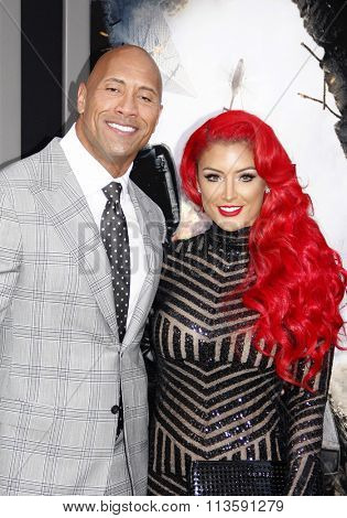 Dwayne Johnson and Eva Marie at the Los Angeles premiere of