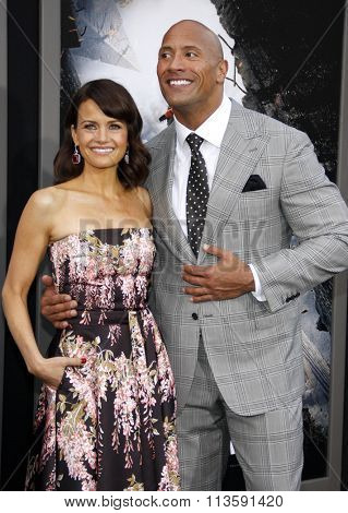 Dwayne Johnson and Carla Gugino at the Los Angeles premiere of