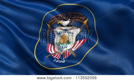 US state flag of Utah with great detail waving in the wind.