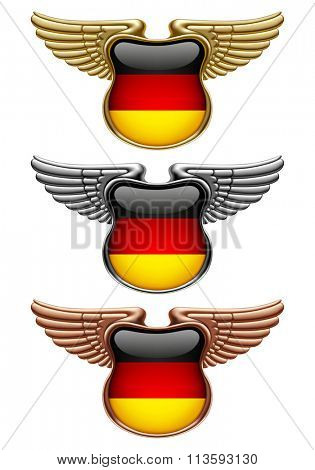 Gold, silver and bronze award signs with wings and Germany state flag. Vector illustration