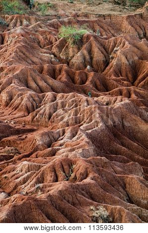 Big red sandstone rock formation in hot dry desert of Tatacoa, Huila