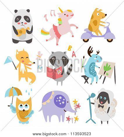 Cute Childish Animals Vector Set