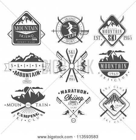 Vintage Skiing Labels and Design Elements Set