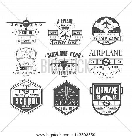 Monochrome Airplane Club Emblems