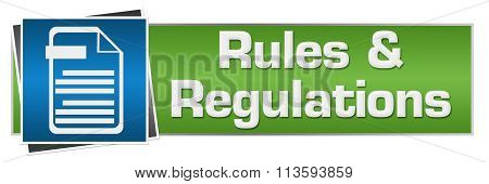 Rules Regulations Green Blue Horizontal