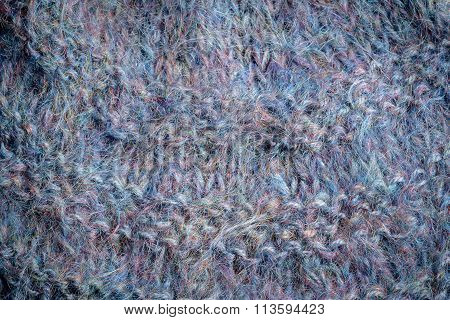 Close-up Of Knitted Grey Wool Mohair Texture