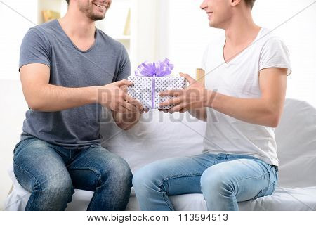 Pleasant guy giving present to his male partner