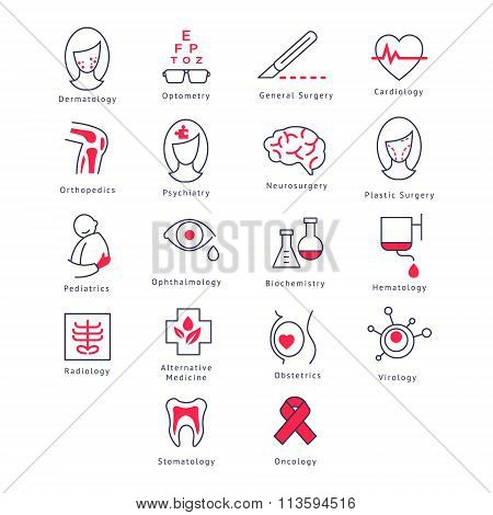 Medicine Kinds. Vector Illustration Set