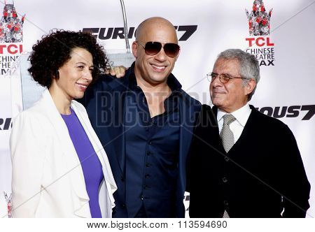 Donna Langley and Ron Meyer at the Vin Diesel Immortalized With Hand And Footprint Ceremony held at the TCL Chinese Theater IMAX in Los Angeles, USA on April 1, 2015.