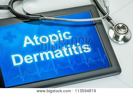Tablet With The Diagnosis Atopic Dermatitis On The Display