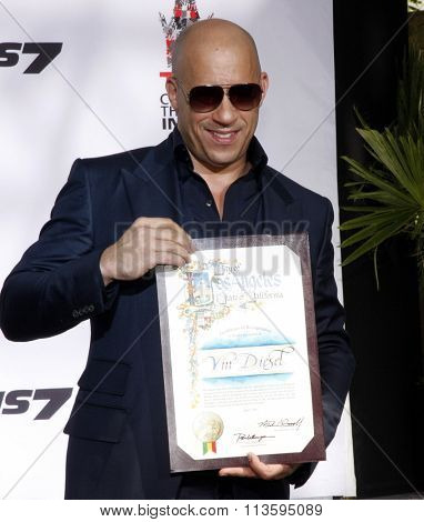 Vin Diesel Immortalized With Hand And Footprint Ceremony held at the TCL Chinese Theater IMAX in Los Angeles, USA on April 1, 2015.