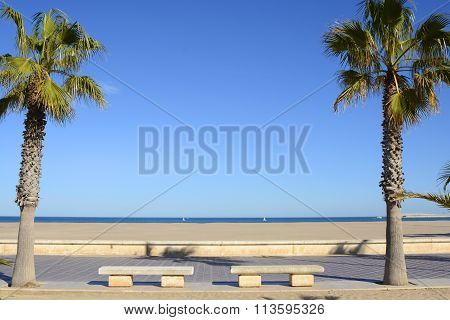 Beach And Seafront At Valencia, Spain