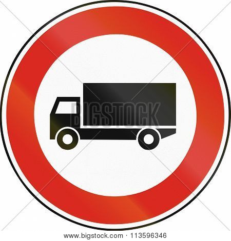Road Sign Used In Slovakia - No Lorries