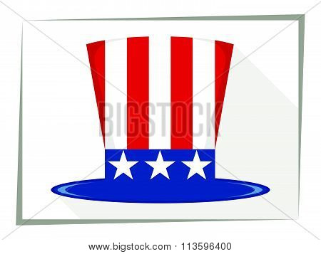 Uncle Sam Hat. Flat. Stars. Vector illustration
