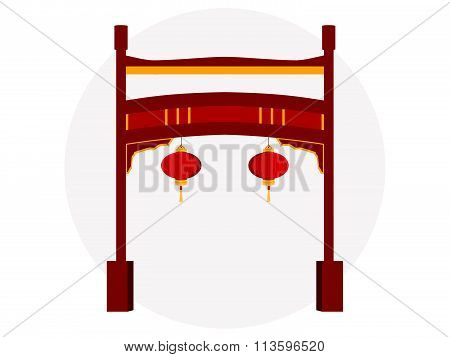 Chinese gate. Paifang. Torii gate. Vector illustration.