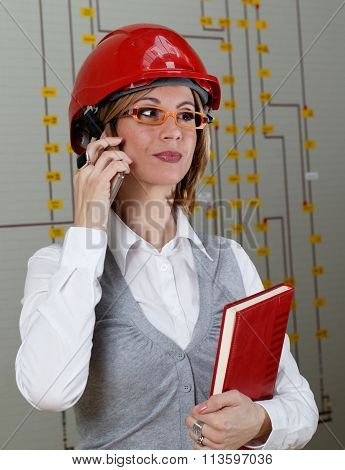 Young Smiling Woman With Red Helmet Make Call