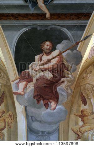 LJUBLJANA, SLOVENIA - JUNE 30: Saint Thomas the Apostle, fresco on the ceiling  of the Cathedral of St Nicholas in Ljubljana, Slovenia on June 30, 2015