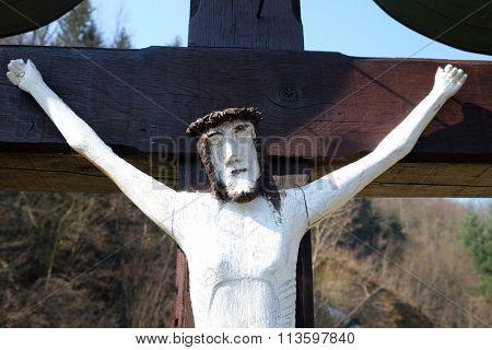 ZAGORJE, CROATIA - MARCH 21: Roadside Crucifix in Zagorje region, Croatia on March 21, 2015.