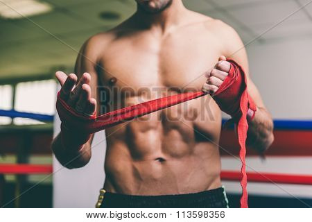 Fighter Put Bandages On His Hands