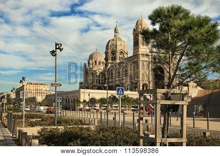 Marseilles, France - October 19, 2015 : Tourists Walking In Front Of The Cathedrale De La Major