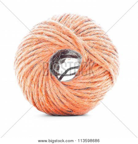 Orange Fiber Clew, Crochet Yarn Roll Isolated On White Background
