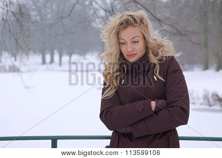 sad woman in winter