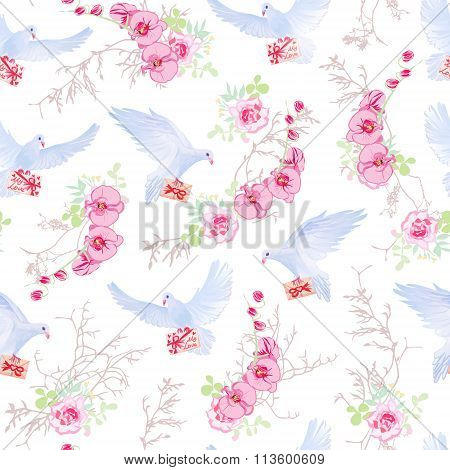 Delicate Vector Pattern With Doves, Love Letters, Orchids, Roses And Tree Branches