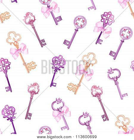 Old Gothic Keys With Bows Seamless Vector Pattern
