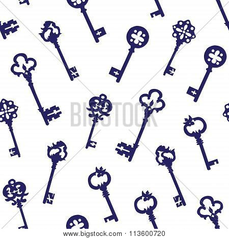 Navy Keys On White Seamless Vector Pattern