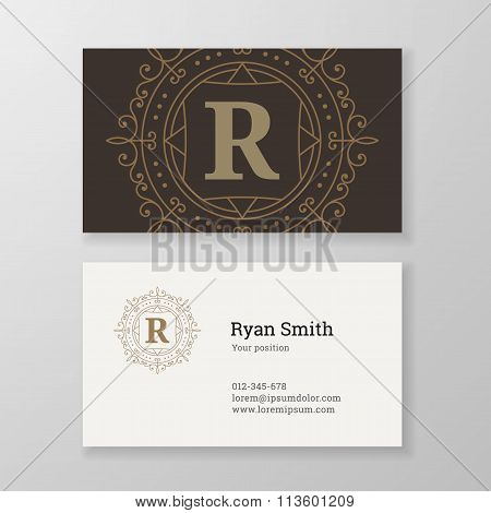 Business Card Monogram Emblem Letter R Template Design.