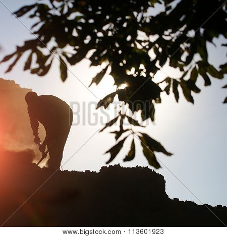 Silhouette Of Strong Construction Worker