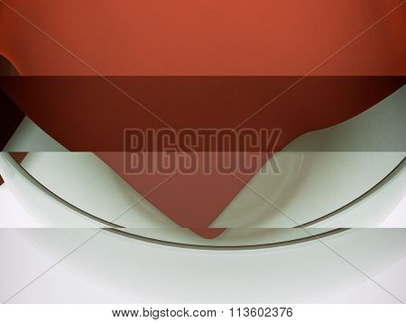 Realistic 3D Model Of A Glass Container And Textured Fabric Napkins.
