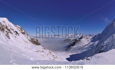 Wide angle mountain panorama