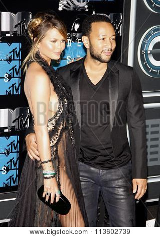 Chrissy Teigen and John Legend at the 2015 MTV Video Music Awards held at the Microsoft Theatre in Los Angeles, USA on August 30, 2015.