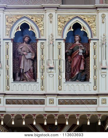 STITAR, CROATIA - AUGUST 27: St. Luke and St. John on the pulpit in the church of Saint Matthew in Stitar, Croatia on August 27, 2015
