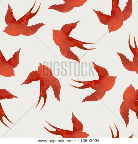 Vector Seamless With Swallows