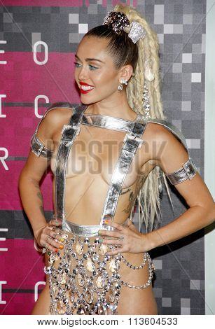 Miley Cyrus at the 2015 MTV Video Music Awards held at the Microsoft Theatre in Los Angeles, USA on August 30, 2015.