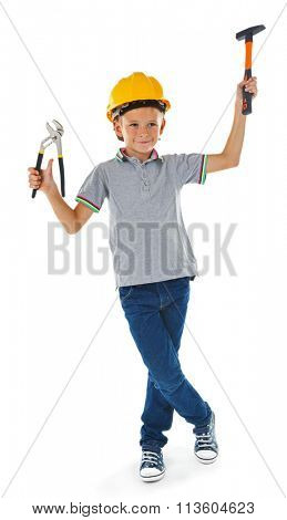 Little boy in yellow helmet with building equipment isolated on white background