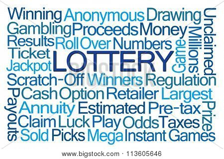 Lottery Word Cloud on White Background