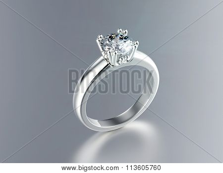 Wedding ring with diamond on black background. Sign of love
