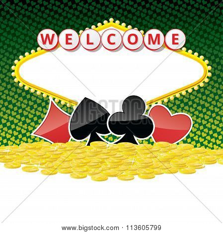 Welcome Sign Background With Card Suits And Heap Of Golden Coins