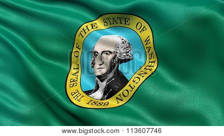 US state flag of Washington with great detail waving in the wind.