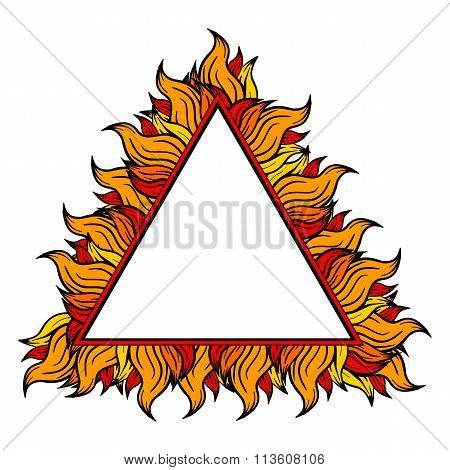 Colorful Triangle Frame With Spurts Of Flame. Vector Illustration.
