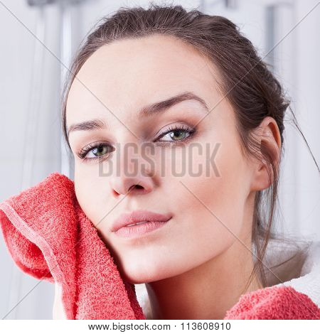 Woman Wiping The Face